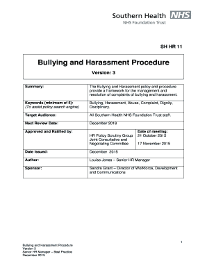 Hostile Workplace Complaint Letter SH HR 11 SH HR 11 Bullying And  Harassment Procedure Version3 SummaryThe Bullying And Harassment Policy And  Procedure ...  Complaints Letter Template