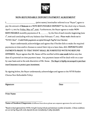 non refundable deposit form  Non Refundable Deposit Agreement - Fill Online, Printable ...