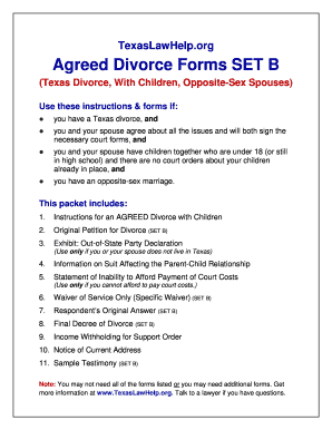 Agreed Divorce Forms Set B Fill Online Printable Fillable Blank