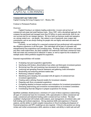 Fillable Commercial Loan Underwriter Resume