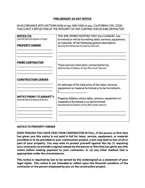Fillable Online California 20-Day Preliminary Notice Form - Zlien ...