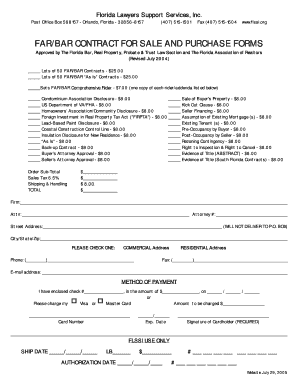 Fillable Online flssi Far/bar contract for sale and purchase forms ...