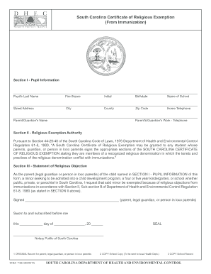 Fillable Online South Carolina Certificate of Religious Exemption ...