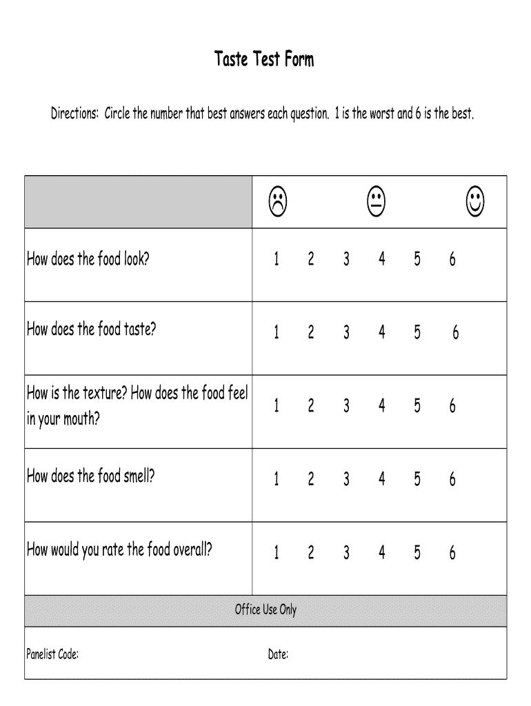 Taste Test Survey Template from www.pdffiller.com