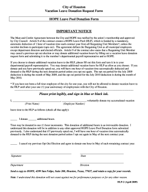 leave donation request form - Fillable & Printable Online Forms