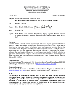 GM06-2008 - Local Government Certification for New VPDES Permitted Landfills. Instructions for Form SS-4 - deq virginia