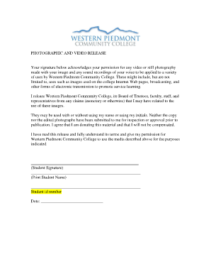 Student Photo and Video Release Form - Western Piedmont ... - wpcc