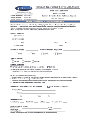 OUTBOUND BILL OF LADING/SHIPPING LABEL REQUEST NFMT ...