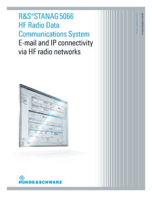 Product Brochure (English) for R&S STANAG 5066 HF Radio Data Communications System. Free download: U.S. DOD Form dod-dd-2630
