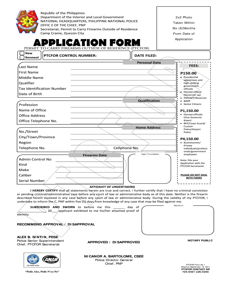 Online Application For Ptcfor - Fill Online, Printable