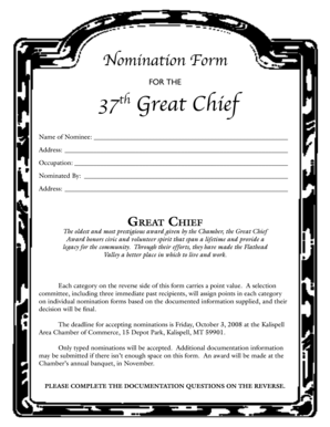 Business Man & Woman of the Year and Great Chief Award Forms