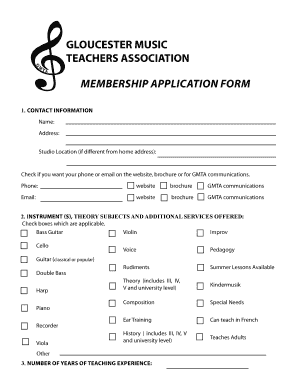 application for music form