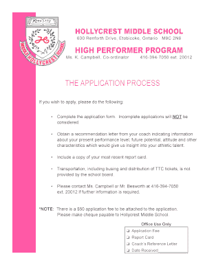 Hollycrest HP Program Application Form - Canadian Ice Academy