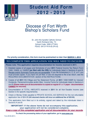 Student Aid Form 2012 - 2013 - St. John the Apostle Catholic School - stjs