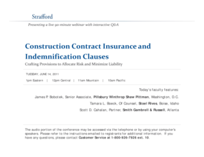 Construction Contract bInsuranceb and Indemnification bb - Strafford