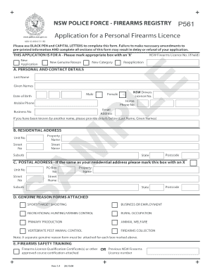 Fillable Online police nsw gov Application for a Personal Firearms ...