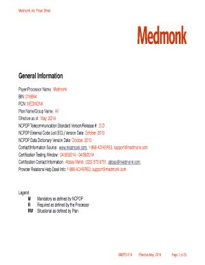 Fillable Online Medmonk Payer Sheet v2 0 Fax Email Print - PDFfiller
