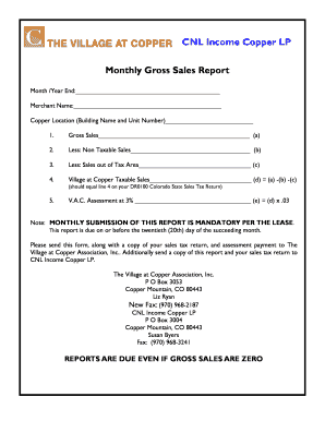 Monthly Gross Sales Report Form  Monthly Sales Report Sample