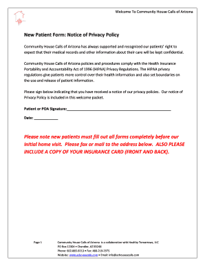 New Patient Form: Notice of Privacy Policy Please note new patients ...