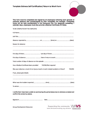 Sickness Absence SelfCertification Form