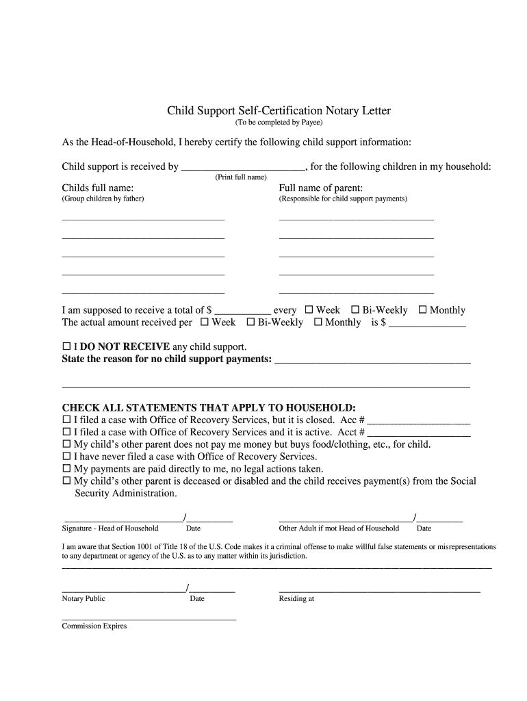 Notarized Letter For Child Support from www.pdffiller.com
