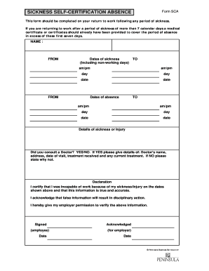 sickness leave form fill online printable fillable
