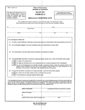 Fillable Online NJ ST3 Resale Tax Form - National Parts Supply Fax ...