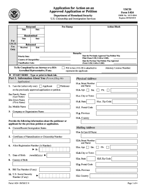 Fillable Online uscis Form I-824 - USCIS Fax Email Print - PDFfiller