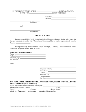 How To File For Notice For Trial Florida - Fill Online, Printable ...