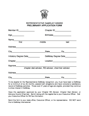 Representative DeMolay Preliminary Application Form - gademolay