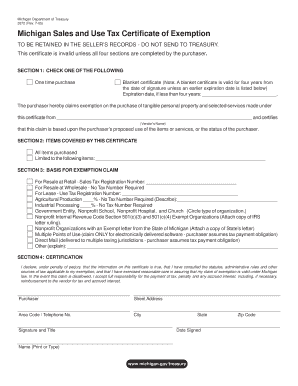 Michigan Sales Tax Exemption Form Fill Online, Printable, Fillable ...