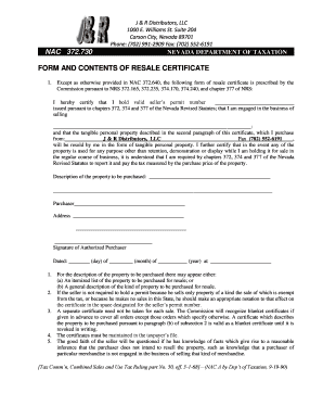 Fillable Online NAC 372.730 FORM AND CONTENTS OF RESALE ...