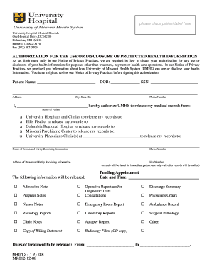 Medical records release form - University of Missouri - medicine missouri