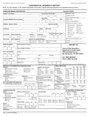 Confidential Morbidity Report San Bernardino County Form