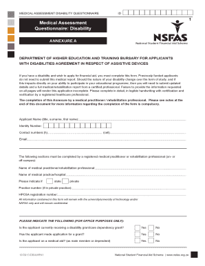 Nsfas Questionnaire Of System Application Form - Fill ...