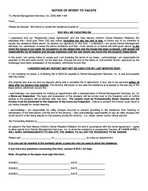Notice of Intent to Vacate Form - Rental Management Services