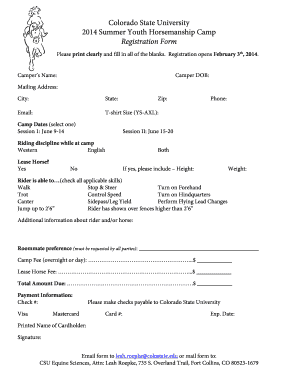 Registration Form - Equine Science - Colorado State University
