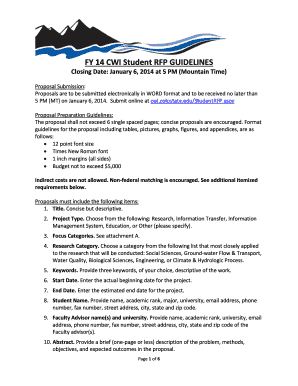 Fillable Online cwi colostate FY 14 CWI Student RFP GUIDELINES