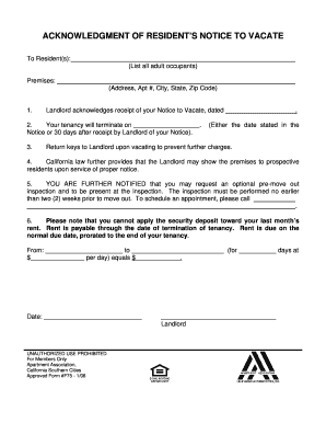 Fillable Online RESIDENT'S 30-DAY NOTICE TO VACATE - Apartment ...