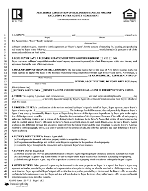 New Jersey Contract For Exclusive Right To Represent Buyer Form