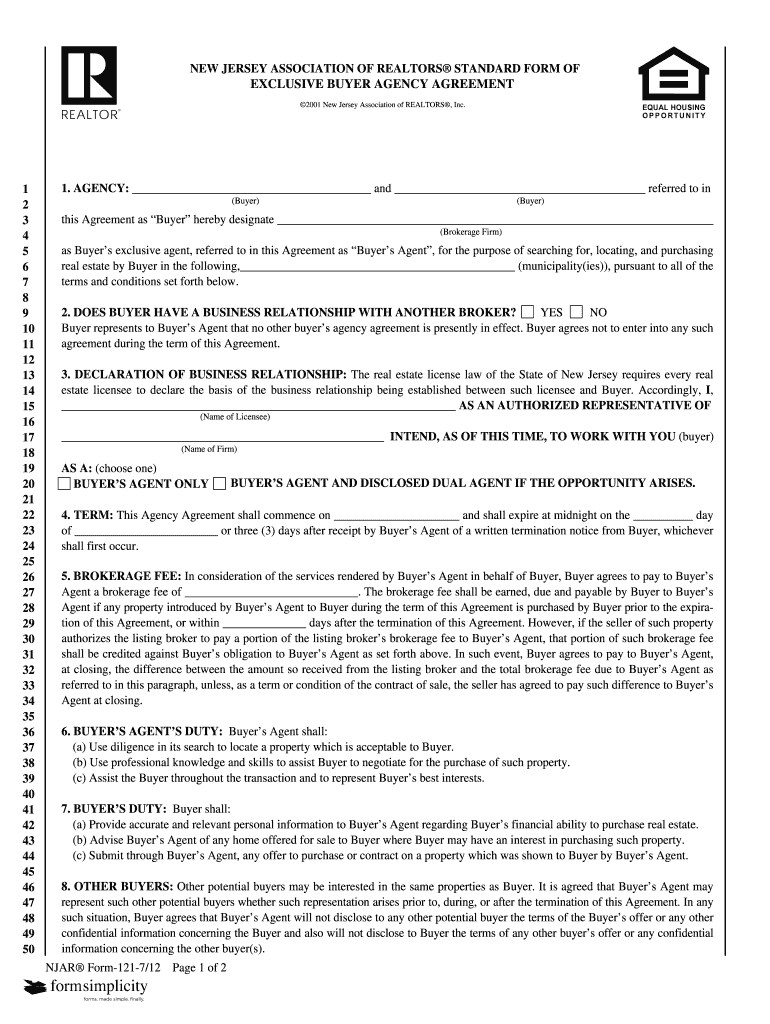 New Jersey Association Of Realtors Standard Form Of Exclusive Buyer Agency Agreement Fill Online Printable Fillable Blank Pdffiller
