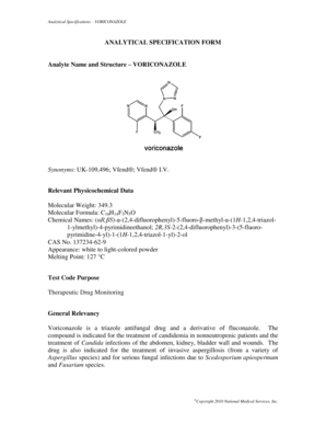 Analytical Specifications VORICONAZOLE