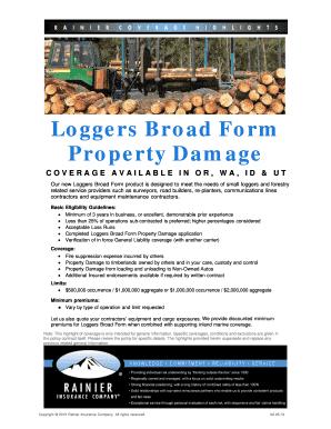 Fillable Online Loggers Broad Form Property Damage - Rainier ...