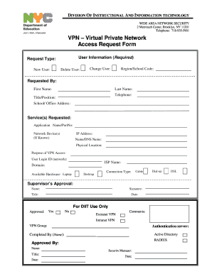 user access request form template vpn access request form template fill online printable