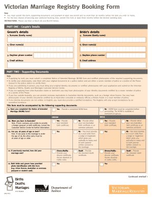 Victorian Marriage Registry Booking Form