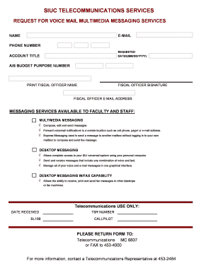 Voice Mail Form - Office of Information Technology SIU - oit siu