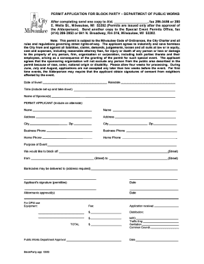 Fillable Online city milwaukee PERMIT APPLICATION FOR BLOCK PARTY ...