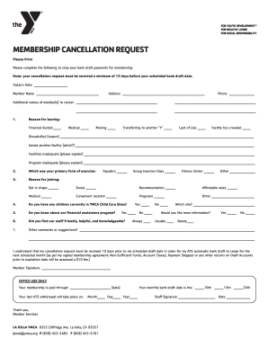 Ymca Cancellation Form - Fill Online, Printable, Fillable, Blank ...