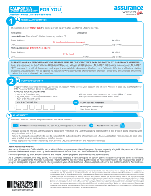 Fillable Online Service Request Form For California Assurance