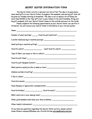 image relating to Printable Secret Sister Questionnaire referred to as Key Sister Content Kinds - Fill On the net, Printable